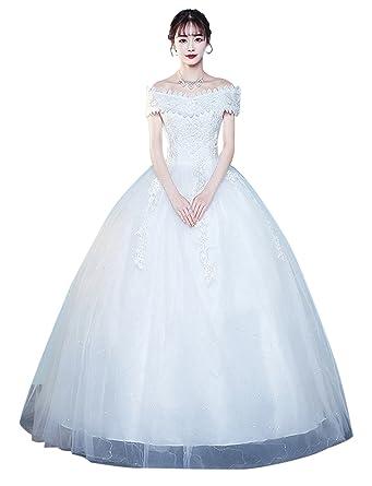 85e008806d602 Erosebridal 2018 Off Shoulder Ball Gown Wedding Dress Lace Applique Bridal  Gown White US2