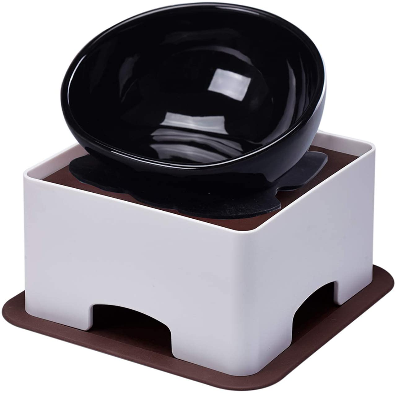 YMAXGO French Bulldog Food Bowl Set,English Bulldog Cub Food Plate + Height Adjustable Bracket (Black)