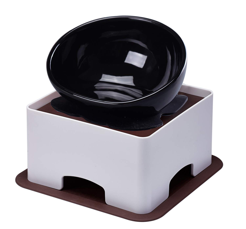 YMAXGO French Bulldog Food Bowl Set,English Bulldog Cub Food Plate + Height Adjustable Bracket (Black) by YMAXGO