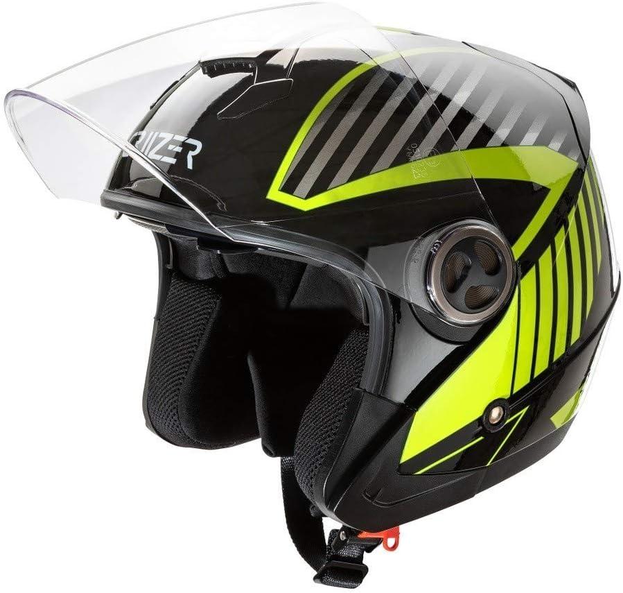 Cierre con hebilla microm/étrica XL Negro CRUIZER/ /casco para moto Jet con gr/áfica amarilla homologado con visera antiara/ñazos Interior extra/íble y lavable