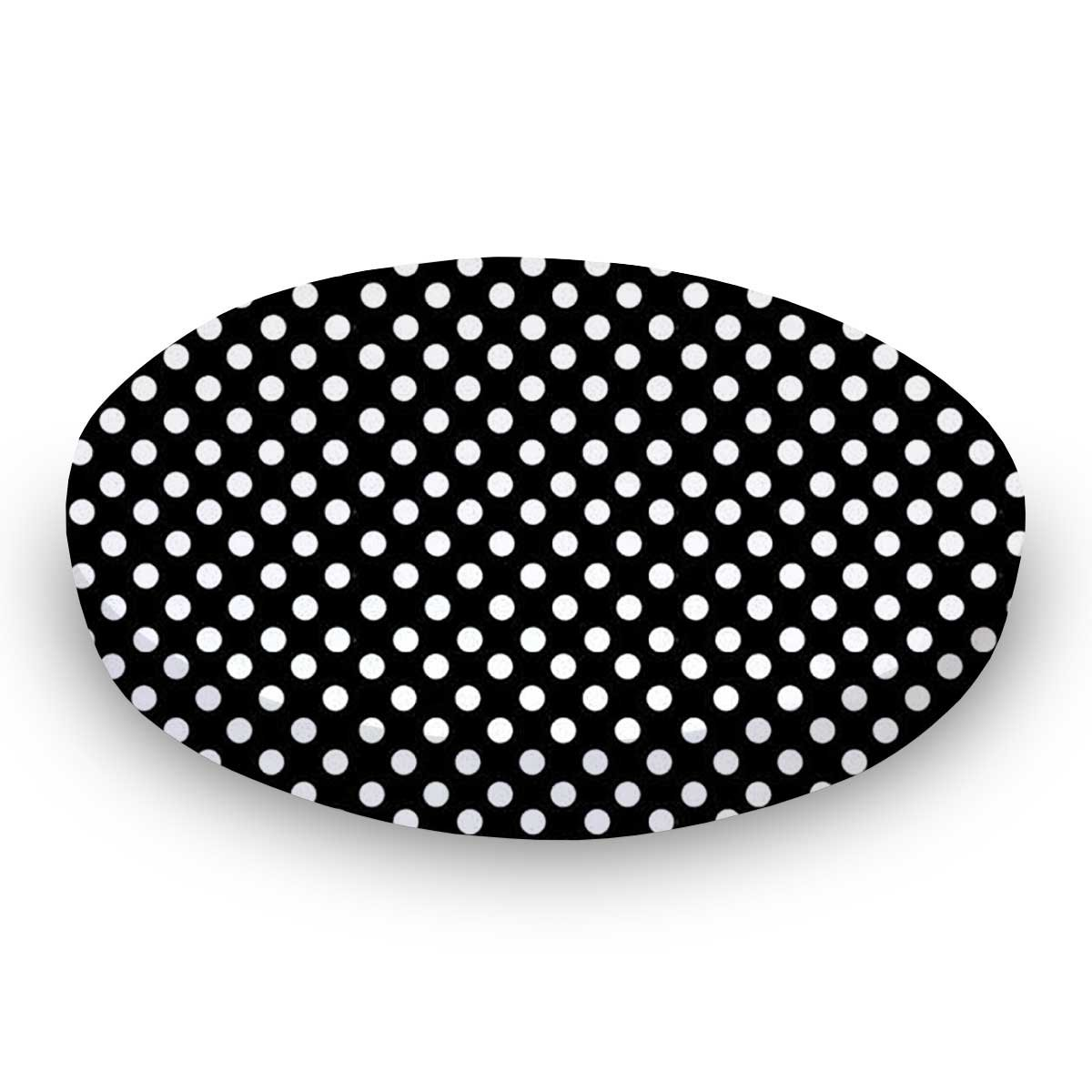 SheetWorld Fitted Oval (Stokke Mini) - Primary Polka Dots Black Woven - Made In USA