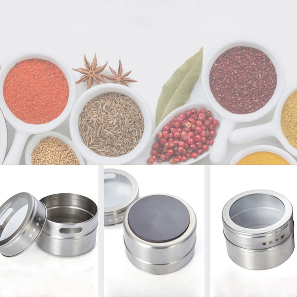 6pc Organizers Stainless Steel Magnetic Spice Jars Osierr6 Airtight Kitchen Storage Containers Stack on Fridge to Save Counter /& Cupboard Space 12PCS