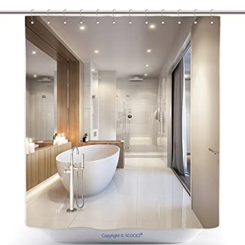 High Quality Decorative Shower Curtains Spacious And Bright Modern Bathroom With White  Tile Large Mirror Bathtub And Shower
