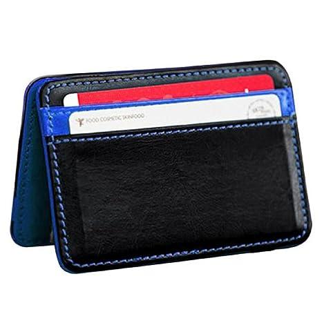 d552471af14c1 HARRYSTORE Unisex Mini Magic Wallet Bifold Leder Dünne Kartenhalter  Geldbörse (Blau)