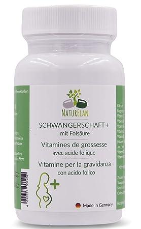 Vitaminas del embarazo - 90 capsulas con 400μg de ácido fólico, yodo, calcio, magnesio, vitamina B, vitamina D, vitamina E - para el embarazo y la ...