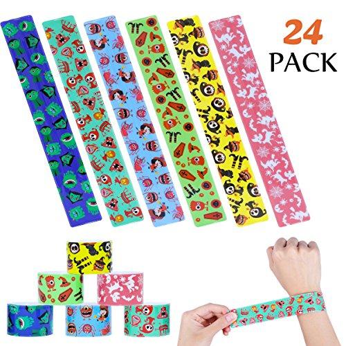 LUOEM Halloween Slap Bracelets 24PCS Toys Party Favors Pack Assorted Slap Bracelets Wristbands for Happy Halloween Wrist Decoration Party Favors for Kids Size 23x3cm -