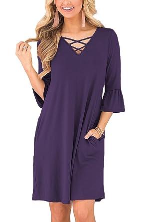 853ebbf4d36 BLUETIME Women Summer Ruffle Sleeves Cross Neck Tunic Top Swing T-Shirt  Loose Dress with
