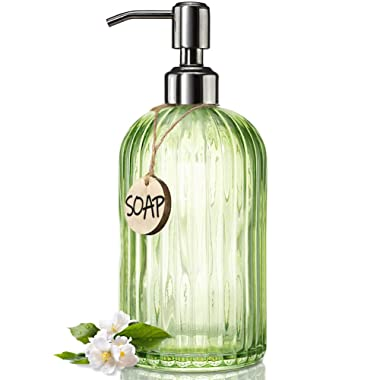 JASAI 18 Oz Vertical Striped Green Soap Dispenser with 304 Rust Proof Stainless Steel Pump, Refillable Lotion Soap Dispenser for Bathroom, Kitchen, Hand Soap, Dish Soap (Clear Green)