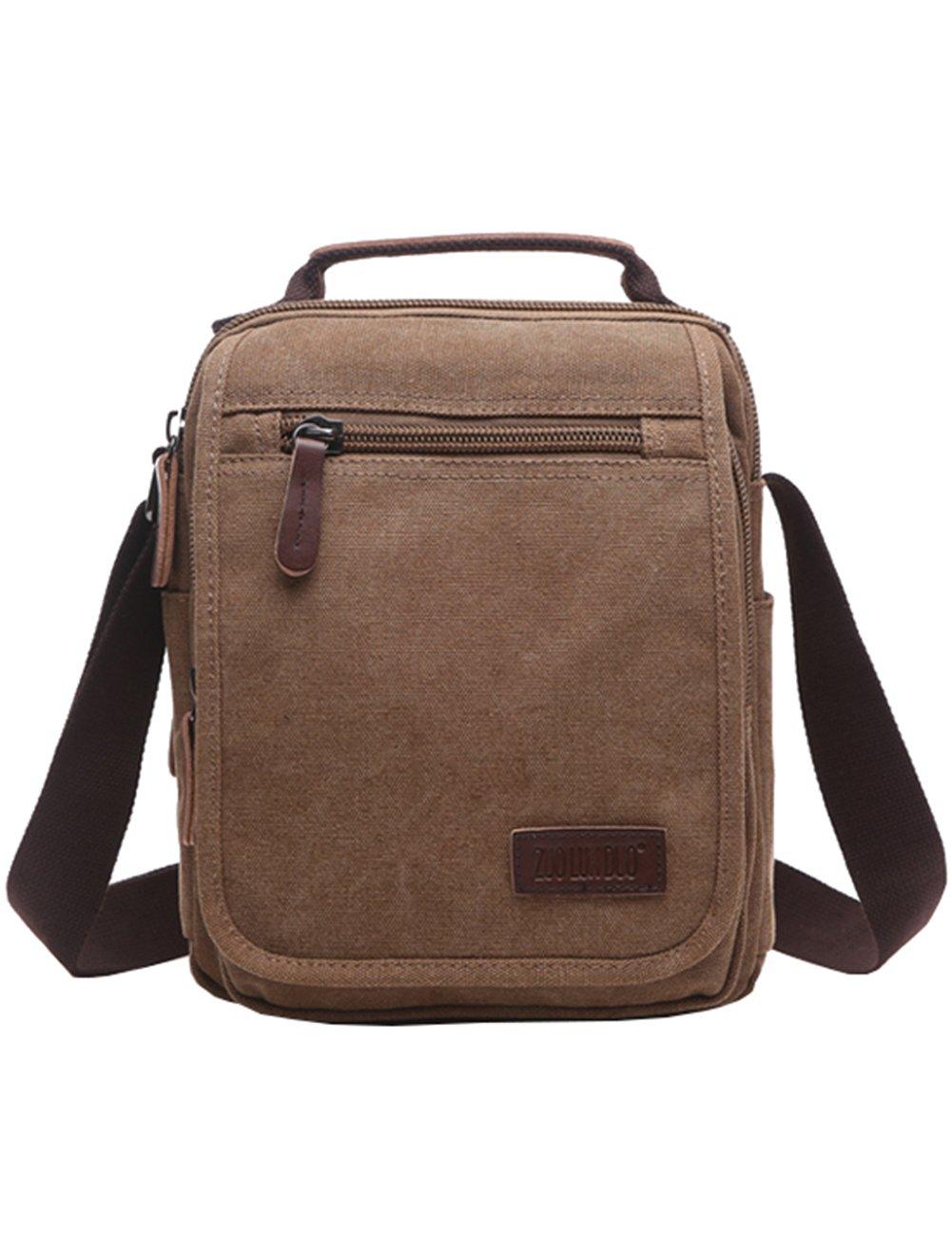 Mygreen Men's Multifunctional Canvas Shoulder Bag Handbag Multi-Pockets Business Messenger Bags Outdoor Sports Over Shoulder Crossbody Side Bag
