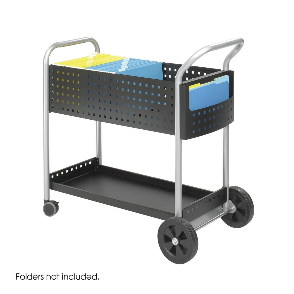 Safco 5239BL Scoot Mail Cart, One-Shelf, 22-1/2w X 39-1/2d X 40-3/4h, Black/silver by Safco