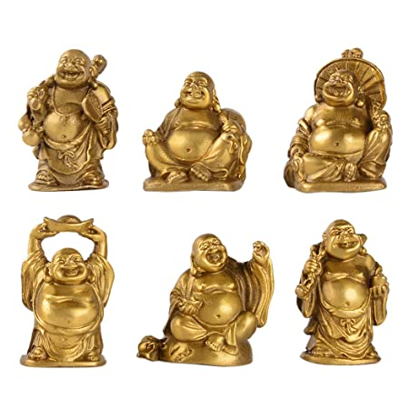 Brass Laughing Buddha Figurines Lucky Happy Buddha Statue-2 Set of 6 Gift