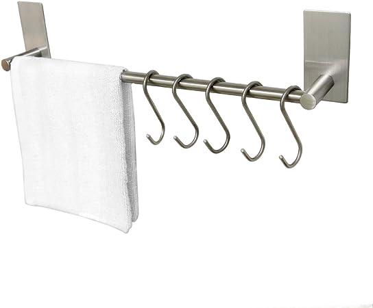 ToHa Selbstklebender Handtuchhalter geb/ürstetem Edelstahl mit 5 Haken Handtuchstange Ohne Bohren Bad und K/üche 40cm