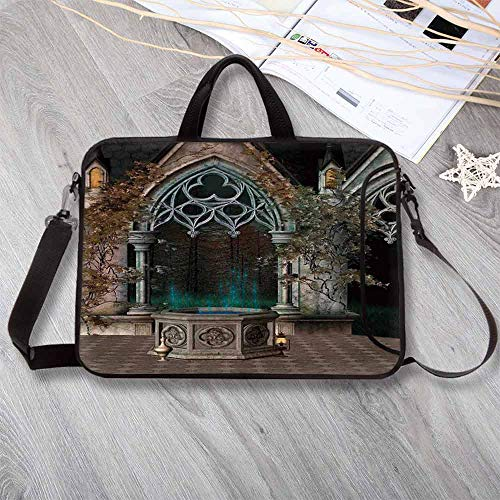 Gothic Printing Neoprene Laptop Bag,Mystical Patio with Enchanted Wishing Well Ivy on Antique Gateway to Magical Forest Laptop Bag for 10 Inch to 17 Inch Laptop,17.3