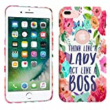 iPhone 7 Plus / iPhone 8 Plus Case - Think Like A Lady, Act Like A Boss Quote Hard Plastic Back Cover. Slim Profile Cute Printed Designer Snap on Case by Glisten