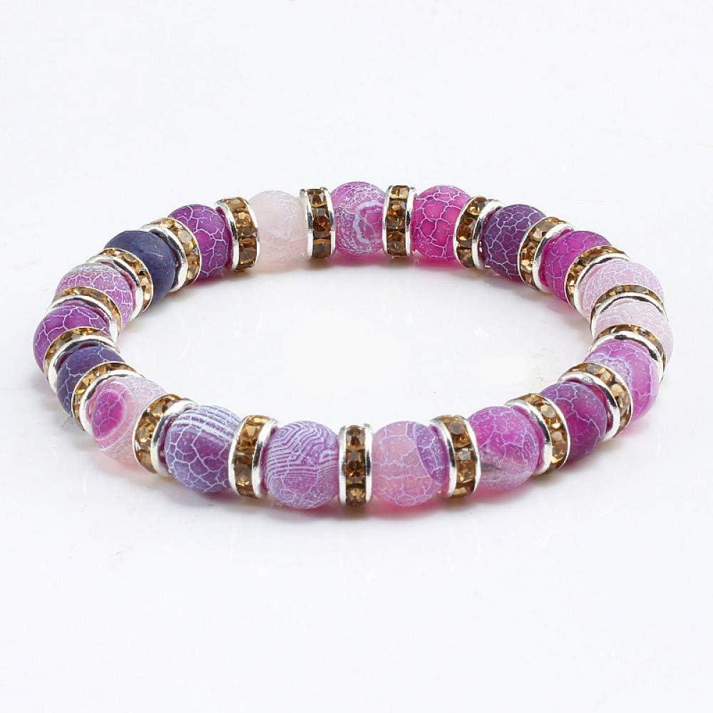 ZXMPGSZ Moda Púrpura Grieta Piedra Natural con Cuentas Pulseras Brazaletes Encanto Lucky Rhinestone Joyería