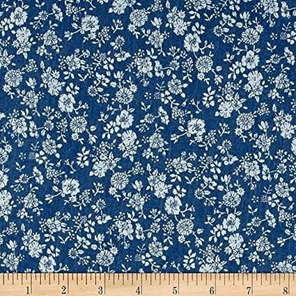 """60/"""" Lightweight Printed Cotton Denim Floral Paisley Dark Blue"""