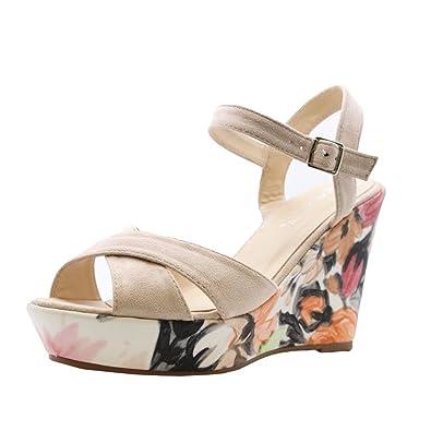 dcfa3c39ae70 SAUTE STYLES Ladies Womens Ankle Straps Heels Floral Print Wedges Platform  Sandals Shoes Size 3