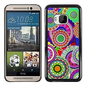 PC/Aluminum Funda Carcasa protectora para HTC One M9 Colorful Pattern Art Wallpaper Psychedelic / JUSTGO PHONE PROTECTOR
