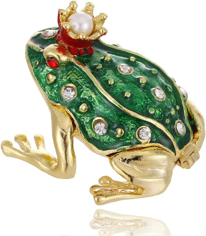 Hand Painted Crown Frog Trinket Box, Hinged Enameled Jewelry Box, Unique Mini Ring Earrings Jewelry Organizer, Vintage Bejeweled Storage, Figurine Collectible Keepsake Home Decor (Crown Frog)