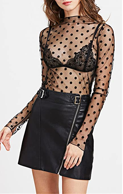 bf55339b leveltech Womens Sexy Polka Dot See Through Blouse Mesh Base Layer Tshirt Sheer  Tops Outwear at Amazon Women's Clothing store: