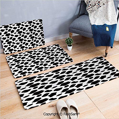 3 Piece Flannel Bath Carpet Non Slip Cattle Pattern with Scattered Spots Animal Hide Plain and Pasture Print Front Door Mats Rugs for Home(W15.7xL23.6 by W19.6xL31.5 by ()