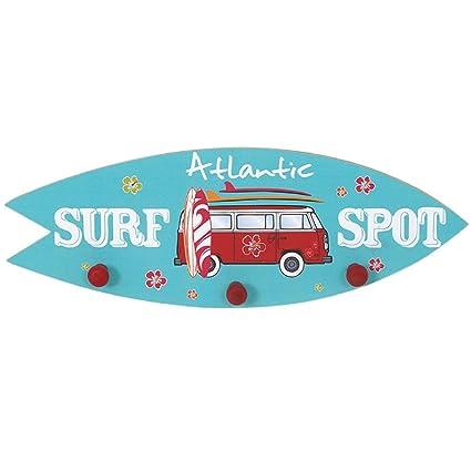 Perchero triple pathere tabla de surf foco playa madera ...