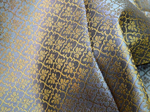 Grey Gold Brocade Jacquard Fabric Art Silk Fabric Indian Banarsi Brocade Fabric