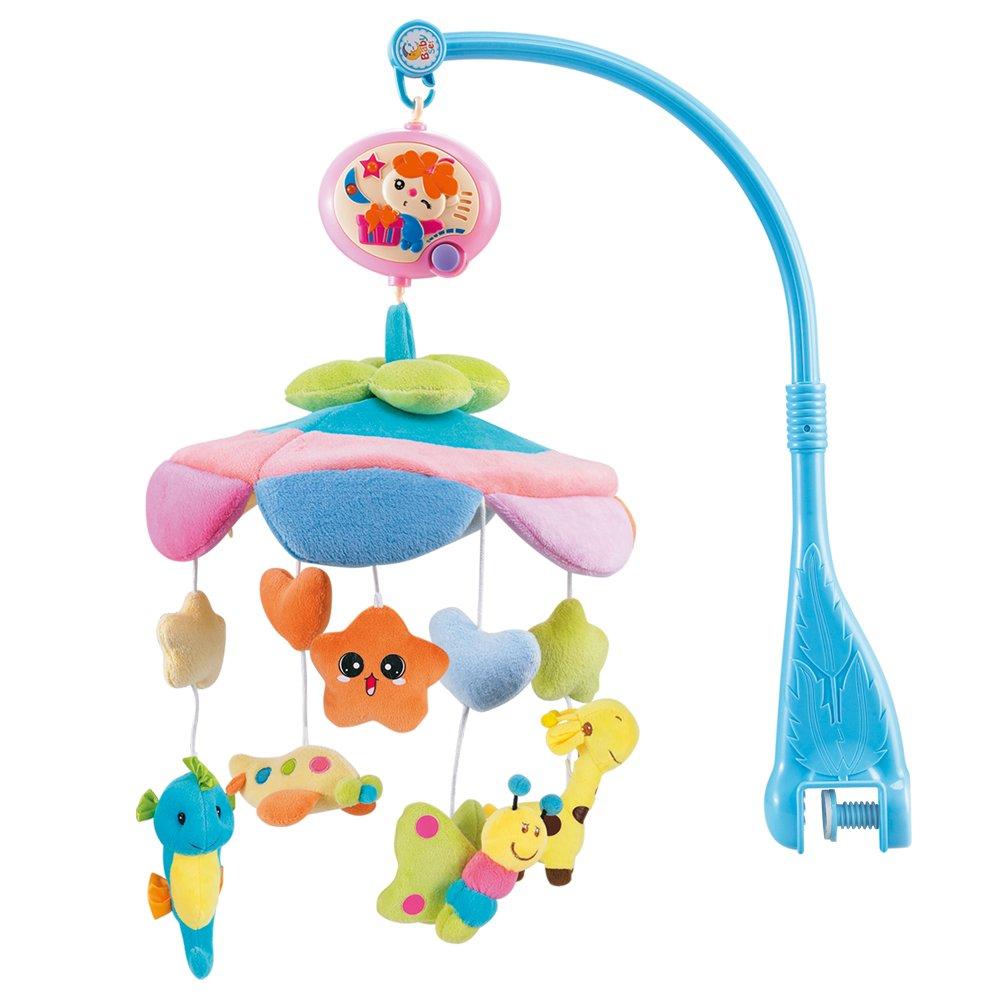NextX B201 del bebé y de la muchacha ropa de cama cuna musical móvil con el colgante giratorio de colores suaves muñecos de peluche, Animal Amigos, caja de música eléctrica de 12 melodías juguete educativo (B201-Flash) Crib-Mobile-musical