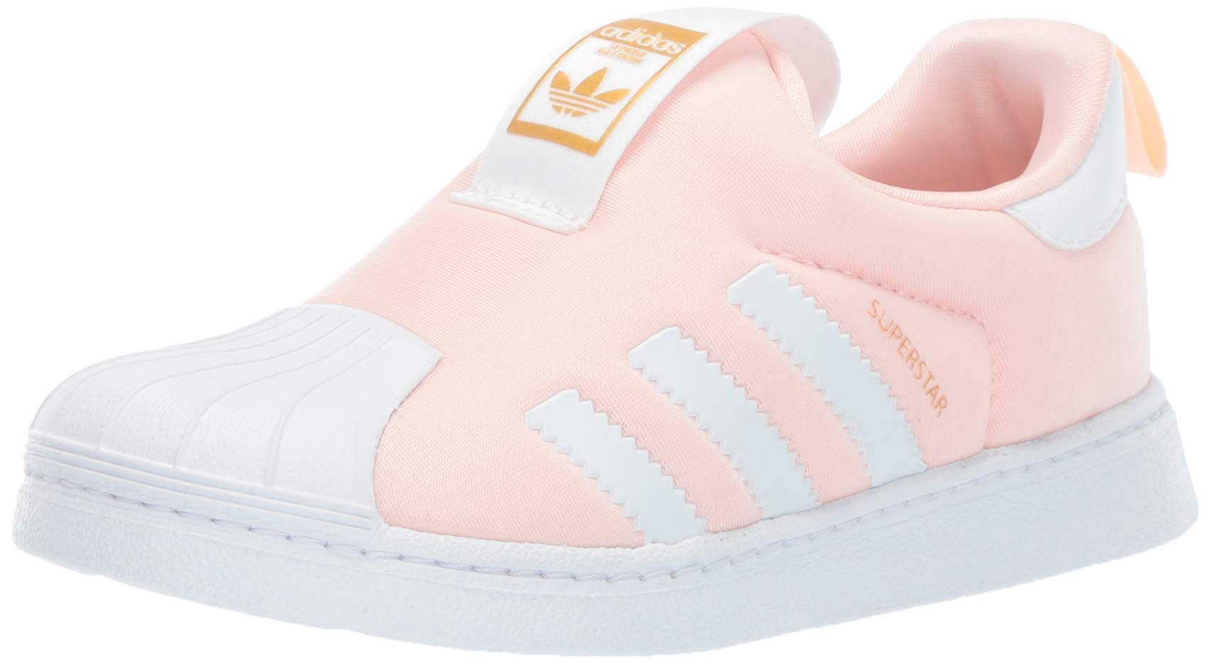 adidas Originals Baby Superstar 360 Running Shoe, Clear Orange/White/Gold Metallic, 5K M US Toddler