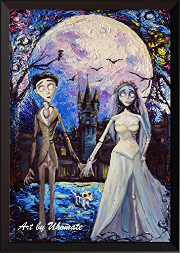 Uhomate Corpse Bride Victor and Emily Wall Decor Vincent Van Gogh Starry Night Posters Home Canvas Wall Art Print Anniversary Gifts Baby Gift Nursery Decor Living Room Wall Decor A087 (13X19)