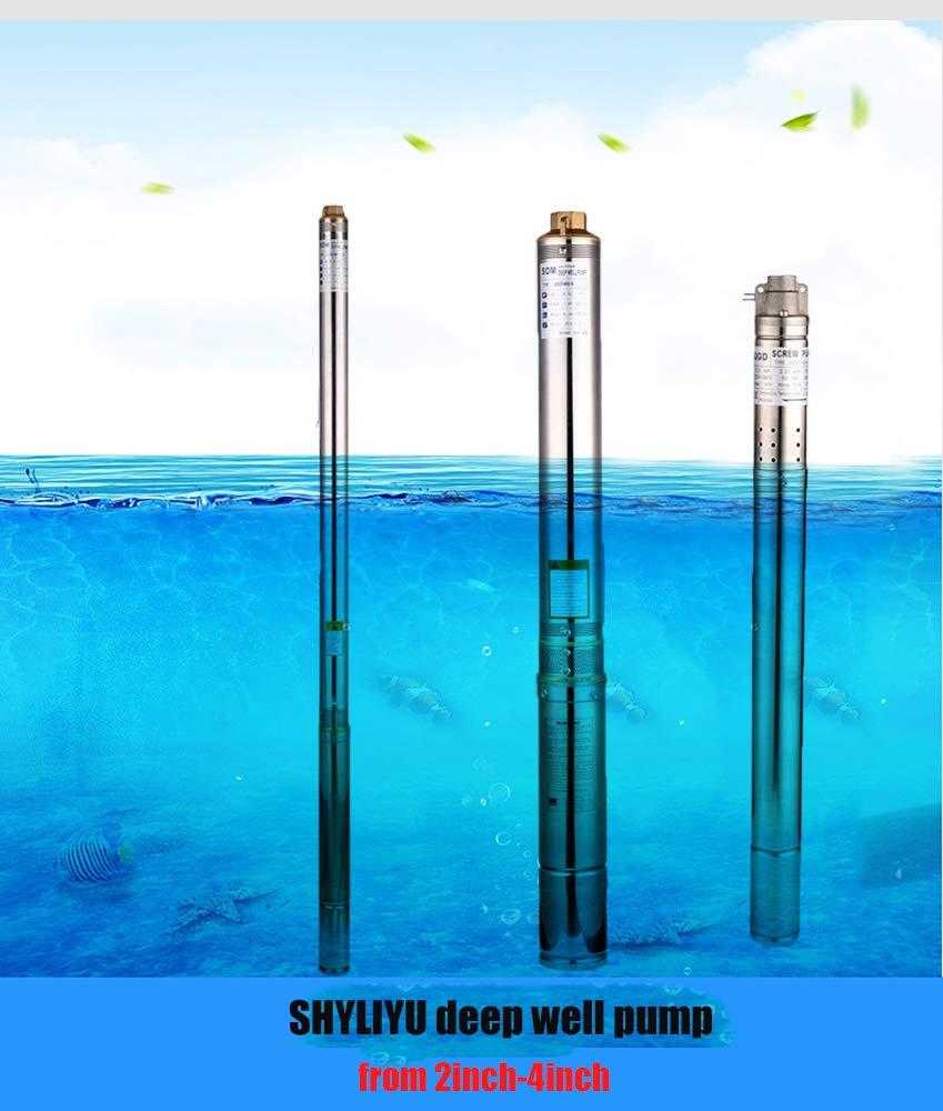 SHYLIYU Pompa Sommergibile per Pozzi Profondi 250W 0.33HP 2800L//H Sommersa Acqua Pompa Immersione Irrigazione Elettrica 220V per Uso Domestico Industriale e Agricoltura