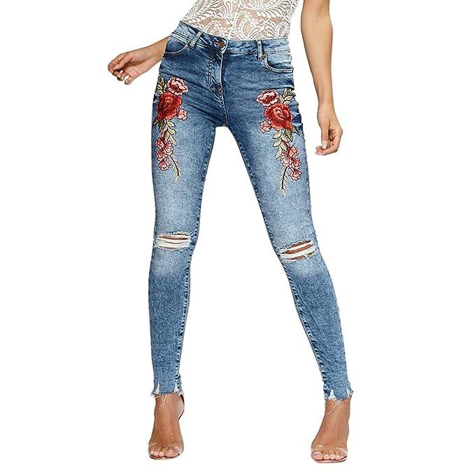 12ea8472d2 Gusspower-pantalones Mujer Vaqueros de Rotos Cintura Alta Bordado de Rosas  Originals Casual Pantalón lápiz Moda Slim Skinny Legging Elasticos Jeans   ...
