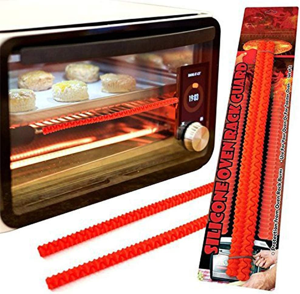 Anyren Oven Rack Shields, Touch-Free Silicone Oven Edge Guards Heat Resistant Insulation Sleeve, Stove Toaster Ovens Edge Protector, Protect Against Burns and Scars