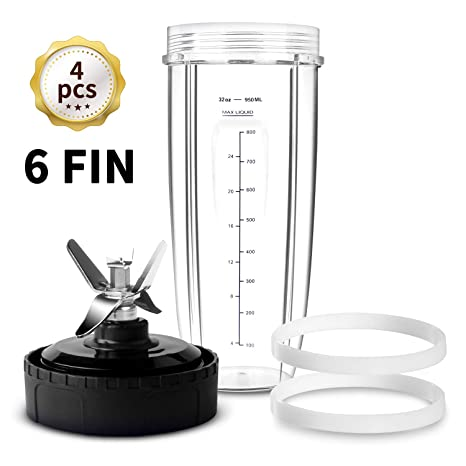 HOMENOTE Replacement Parts Compatible with Ninja Blender 6 FIN Blade & 32 oz Cup & 2 Gasket - 4 PCs Blender Parts & Accessories Compatible with Nutri ...