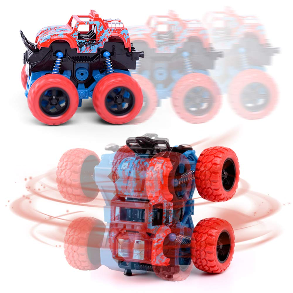 TONGSHAO Children's Pull Back Vehicles stunt car four-wheel drive off- road car boy model car can rotate and straight run toy car (4Pcs-suv car)