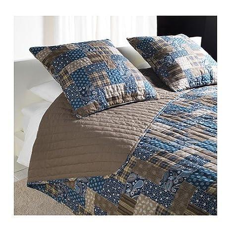 IKEA fräken colcha y 2 fundas de almohada en marrón/azul ...