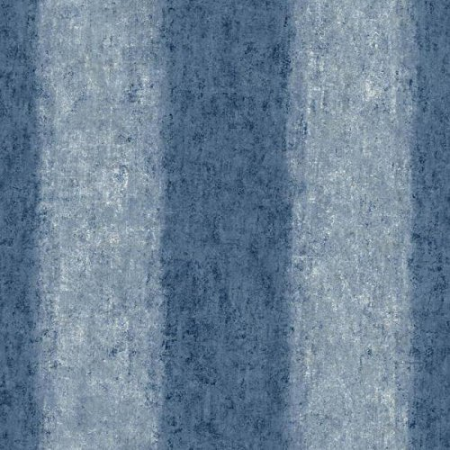 - York Wallcoverings Watercolors Batik Ogee Stripe Removable Wallpaper, Purple/Blue/Dark Blue/Grey Blue/White