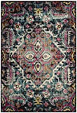 Safavieh Monaco Collection MNC252J Vintage Bohemian Medallion Distressed Blue and Fuchsia Pink Area Rug (4′ x 5'7″) For Sale