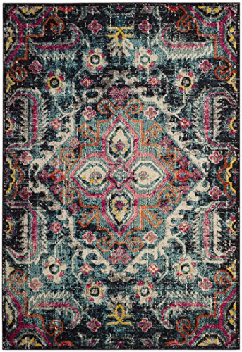 Safavieh Monaco Collection MNC252J Vintage Bohemian Medallion Distressed Blue and Fuchsia Pink Area Rug (6'7