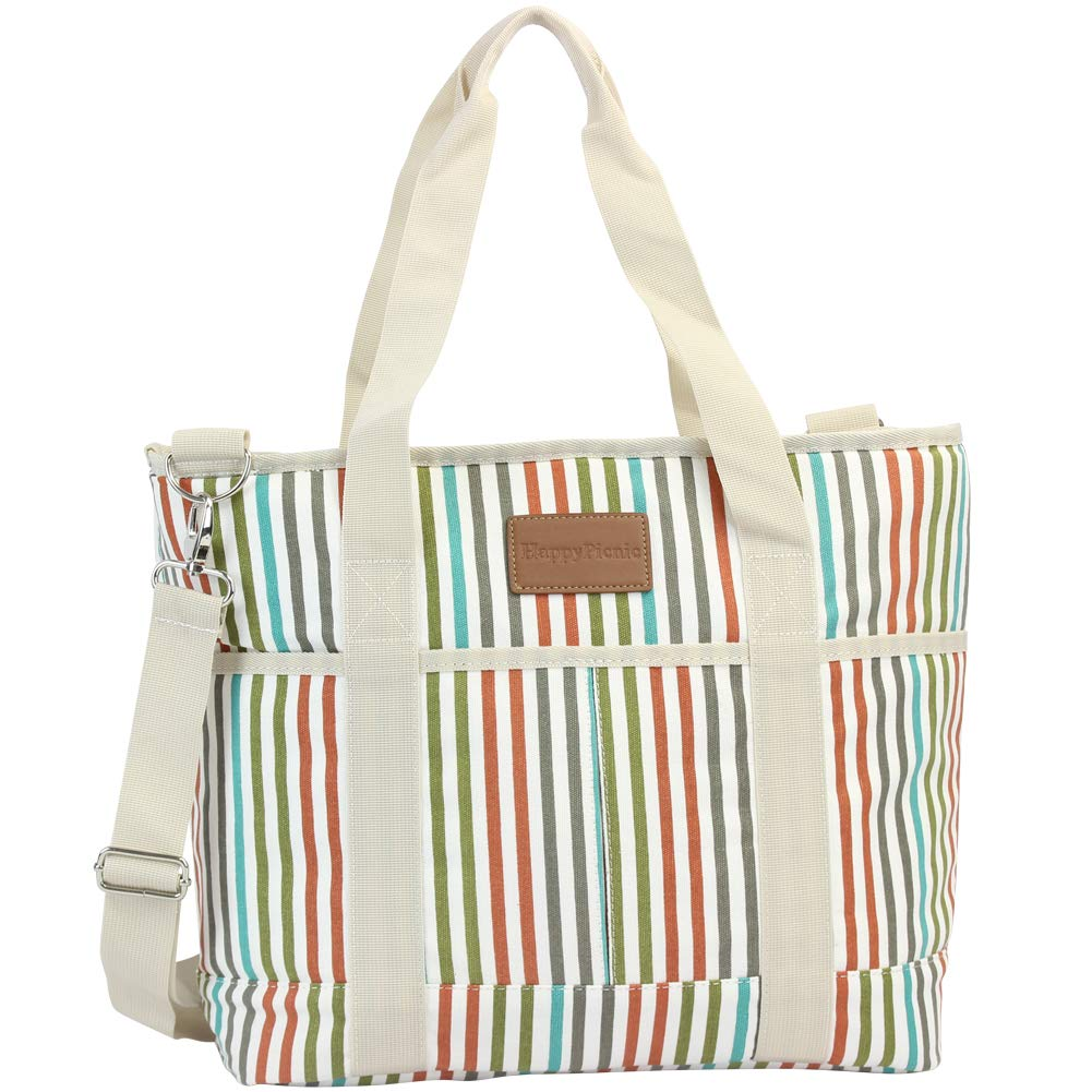 16L Large Insulated Bag, 25CAN Waterproof Cooler Carrier Bag, Thermal Picnic Tote, Lunch Bags for Outdoor Camping,Beach Day or Travel, Collapsible Grocery Shopping Storage Bag - Stripe by HappyPicnic