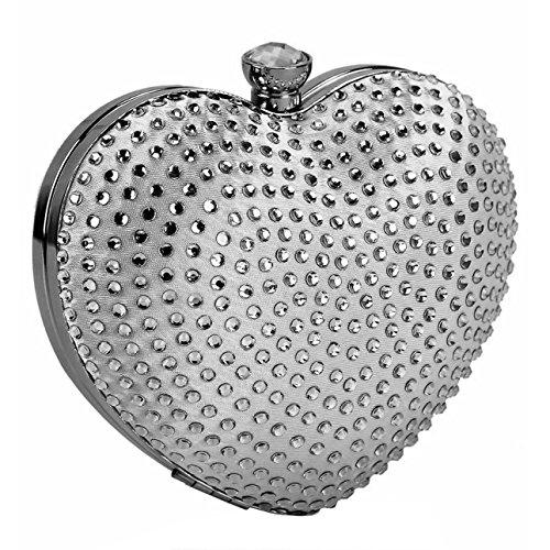 Con brillantes de funda impermeable para teléfono móvil en forma de corazón y piñón libre bolsa en caja de cadena de diseño con un lápiz de diseño de larga plata