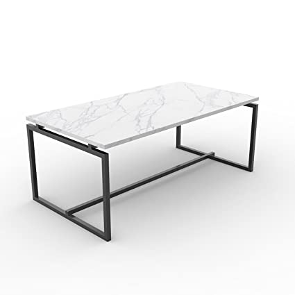 Amazon Com Hmhome Metal Frame Cocktail Coffee Table Faux Marble