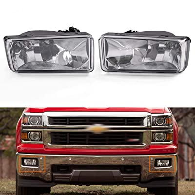 Fog Lights Clear Lens For 2007-2014 Chevy Silverado Tahoe Suburban Avalanche: Automotive