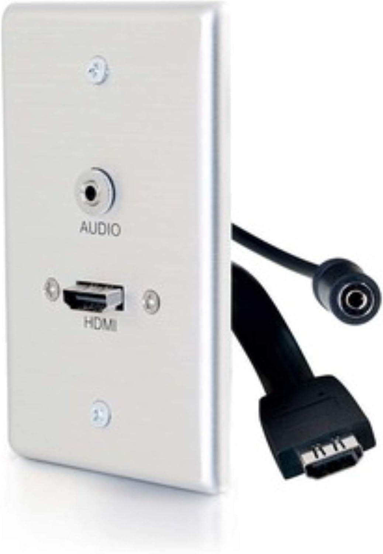 VGA Aluminum 3.5mm Stereo Pass Through Single Gang Wall Plate C2G 60144 HDMI