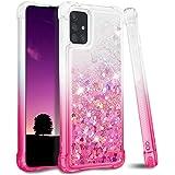 Ruky Samsung Galaxy A71 Case, Gradient Quicksand Series Glitter Bling Liquid Soft TPU Girls Women Cover Phone Case for Samsung Galaxy A71 Case Gradient Pink