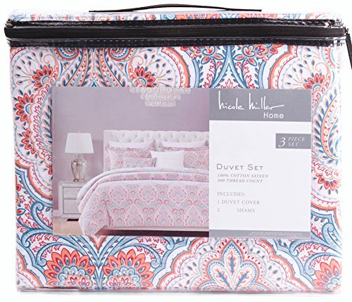 Nicole Miller Muriel Coral Turquoise Paisley 3pc Duvet Cover Set Moroccan Medallion Turquoise Aqua Coral Red Boteh Style (King)