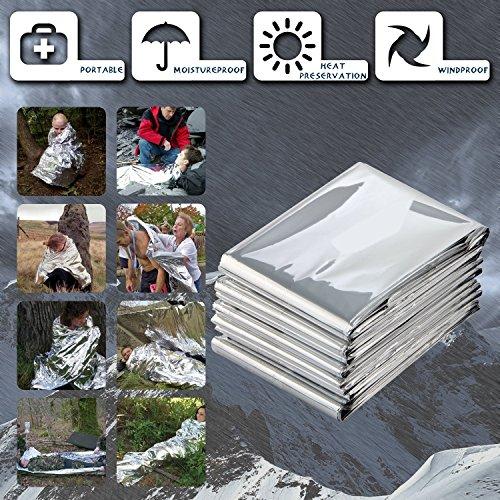 "Nastafi [12 Pack] 82"" X 62"" Extra Large Mylar Emergency/Survival Blanket Emergency Blanket Warming for Camping Hiking Backpacking Sliver!"