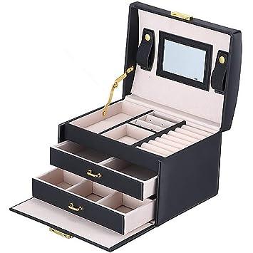 BalladHome Caja Joyero con Espejo Caja para Joyas joyero Caja de Joyas Organizador de Joyas, Caja de Relojes Caja para Relojes (Negro): Amazon.es: Hogar