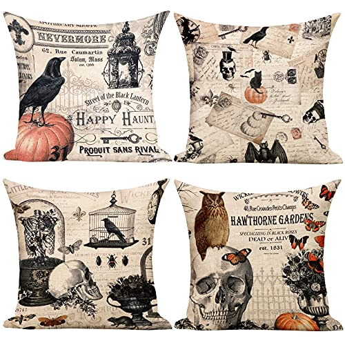 tiosggd Halloween Pillow Cover Set of 4, Skull Pumpkin Classic Pattern Linen Square Pillow Cushion Case for Fall Decorations Home Sofa Bedroom Car Decor (18