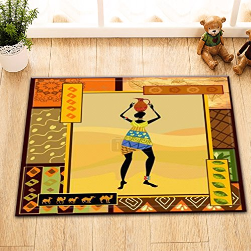 LB Black Tribal Girl in Traditional Costume Small Indoor Rugs for Kids Room, Safe Non Slip Backing Comfortable Soft Surface, African Tribal Pattern Print Rug 15 x 23 (Egyptian Cat God Costume)
